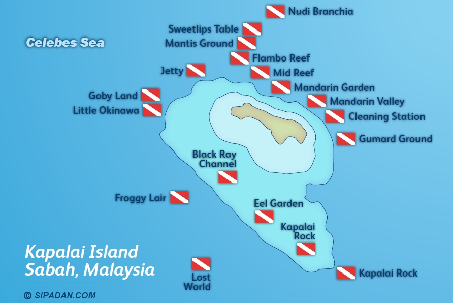 Kapalai Dive Site Map