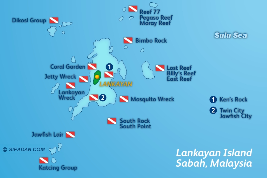 Lankayan Dive Site Map