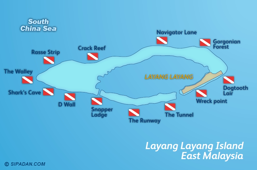 Layang Layang Dive Site Map
