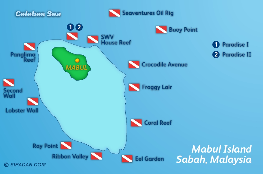 Mabul Dive Site Map