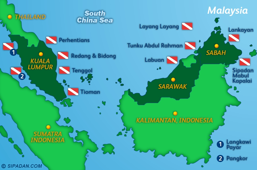 Malaysia Dive Site Map