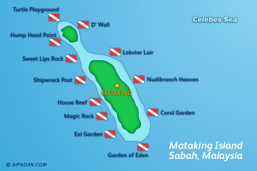 Mataking Island Dive Map