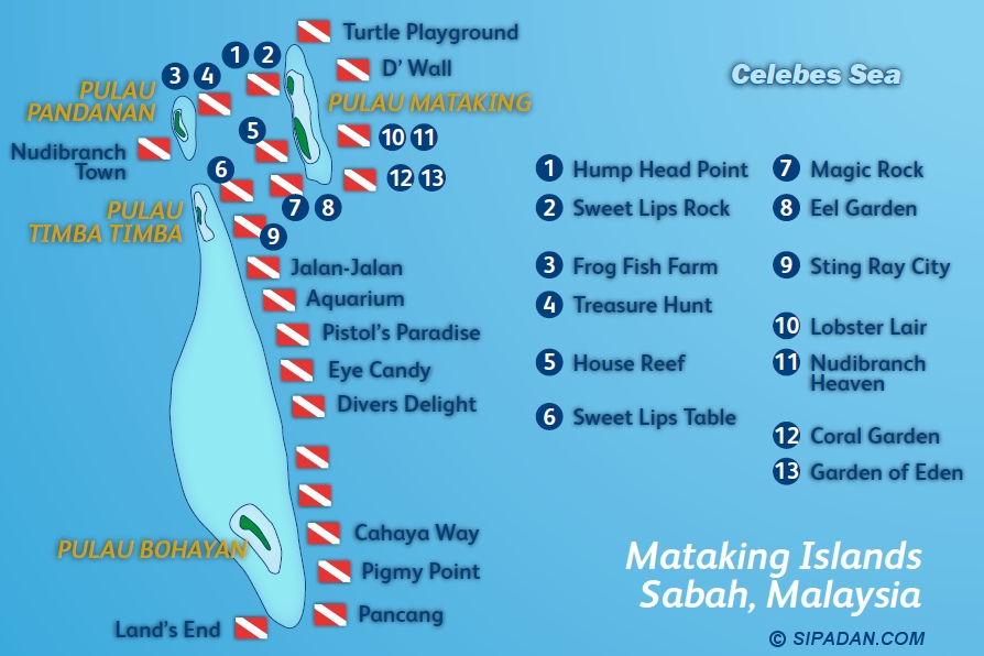 Mataking Islands Dive Map