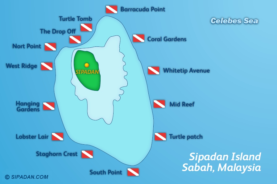 Sipadan Dive Site Map